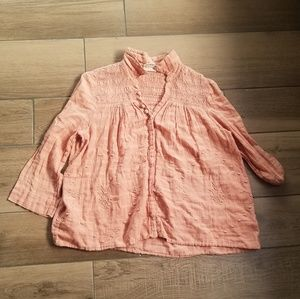Anthro Vanessa Virginia Orange blouse 8 button